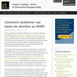 Comment conformer vos bases de données au RGPD – IT Governance Blog FR