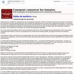Comment conserver les tomates - Trois techniques de transformation et de conservation artisanales