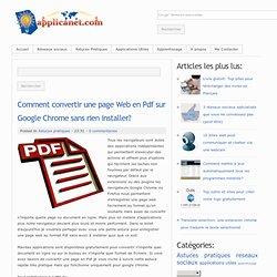 Comment convertir une page Web en Pdf sur Google Chrome sans rien installer?