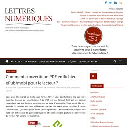 Comment convertir un PDF en fichier ePub/mobi pour le lecteur