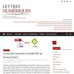 Comment convertir un texte PDF au format ePub?