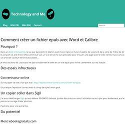Comment créer un fichier epub avec Word et Calibre