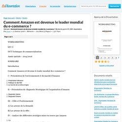 Comment Amazon est devenue le leader mondial du e-commerce ? - Mémoire - jouse