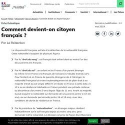 Comment devient-on citoyen français? - Qui est citoyen en France