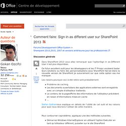 Comment faire: Sign in as different user sur SharePoint 2013