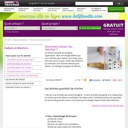 Dosage du b ton et du mortier pearltrees - Comment faire du mortier ...