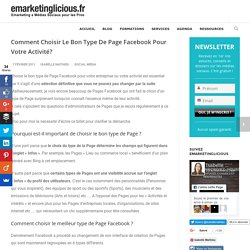 Comment Choisir Le Bon Type De Page Facebook Pour Votre Activité?