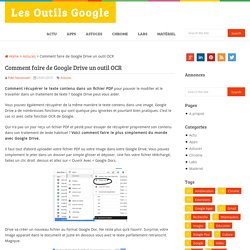 Comment faire de Google Drive un outil OCR