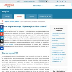 Comment Installer Google Tag Manager sur son site web