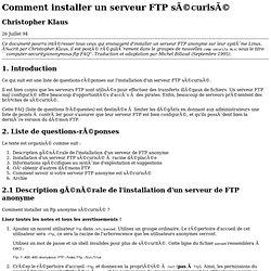 Comment installer un serveur FTP sécurisé