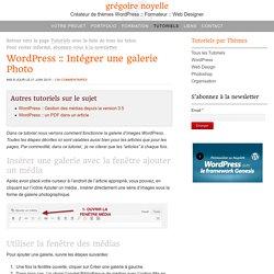 Comment intégrer une galerie Photo dans WordPress