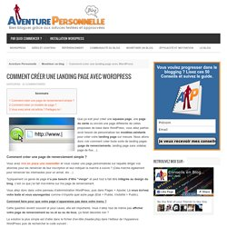 Créer une landing page Wordpress