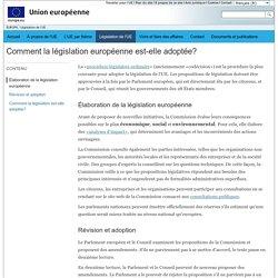 EUROPA - Comment la législation européenne est-elle adoptée?