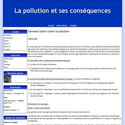 Comment lutter contre la pollution - La pollution et ses conséquences