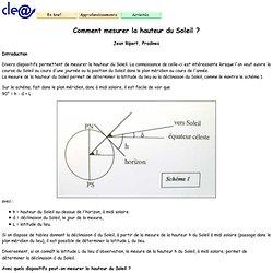 Comment mesurer la hauteur du Soleil ?