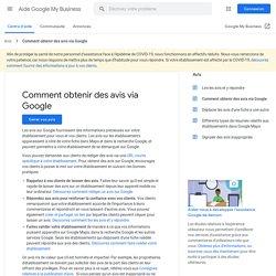 Comment obtenir des avis via Google - Aide GoogleMyBusiness
