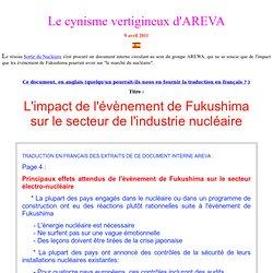 Comment AREVA perçoit le drame de Fukushima