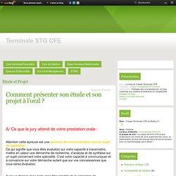 Etude et Projet - Comment présenter… - Le blog de Classe Terminale CFE