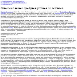 Comment semer quelques graines de sciences