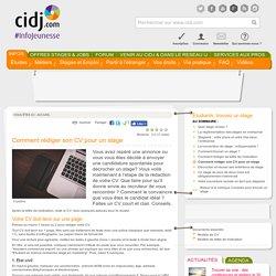 CV stage_Comment rédiger son CV pour un stage_CIDJ