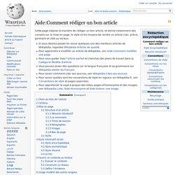 Aide:Comment rédiger un bon article