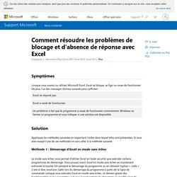 Comment résoudre les problèmes de blocage et d'absence de réponse avec Excel