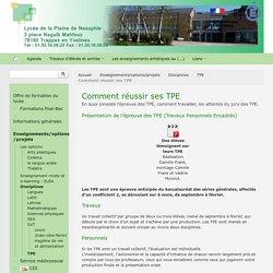 Comment réussir ses TPE - Lycée de la Plaine de Neauphle