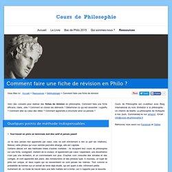 Comment faire une fiche de révision en Philo ?