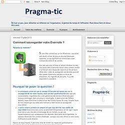 Pragma-tic: Comment sauvegarder votre Evernote ?