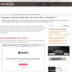 Comment supprimer Apple Music de iTunes (Mac et Windows) ?