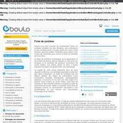 Comment rédiger une fiche de synthèse - méthodologie sur Oboulo