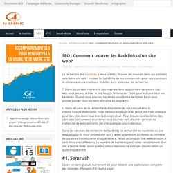 SEO : Comment trouver les Backlinks d'un site web ?