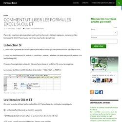 Comment utiliser les formules Excel SI, OU, ET - Formule Excel
