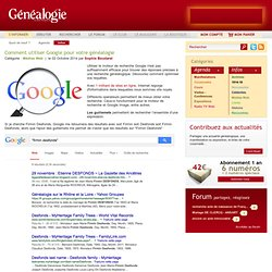 Comment utiliser Google pour votre généalogie
