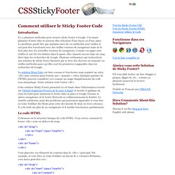 Sticky Footer Code HTML et CSS