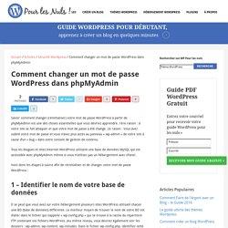 Comment changer un Mot de Passe Wordpress dans phpMyAdmin