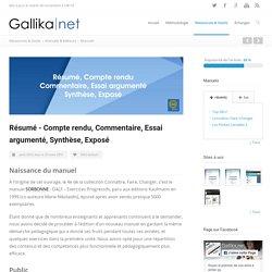 Article : Résumé - Compte rendu, Commentaire, Essai argumenté, Synthèse, Exposé