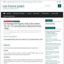 Le mariage de Figaro, Acte 2 (II), scène 13, 14, 15, commentaire, Beaumarchais, 1784. - Les Cours Julien