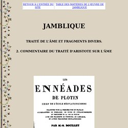 Jamblique : Commentaire du traité d'Aristote sur l'Âme (fragments), traduction + commentaires