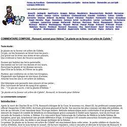 """COMMENTAIRE COMPOSE : Ronsard, sonnet pour Hélène """"Je plante en ta faveur cet arbre de Cybèle """""""