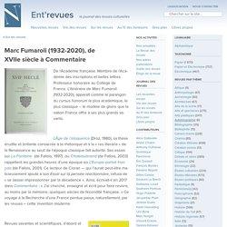 Marc Fumaroli (1932-2020), de XVIIesiècle à Commentaire ⋆ Ent'revues, le site des revues culturelles