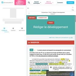 Commentaire - Fiche 5 : Rédiger le développement