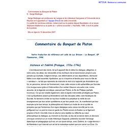 Commentaire du Banquet de Platon