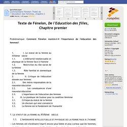 Commentaire Fénelon Traité de l`éducation des femmes, chapitre I - Specialised paper/Fachbereichsarbeit