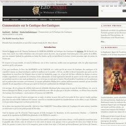 Commentaire sur le Cantique des Cantiques « Etudes Kabbalistiques « Kabbale