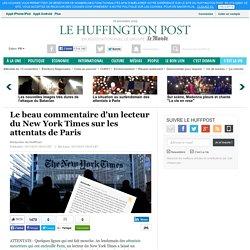 Le beau commentaire d'un lecteur du New York Times sur les attentats de Paris