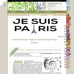 """commentaire de texte : """"essai sur l'origine des langues"""" chap 9 Rousseau"""