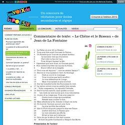 Commentaire de texte: « Le Chêne et le Roseau » de Jean de La Fontaine