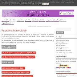 Commentaires de texte et analyses de texte pour le BAC français