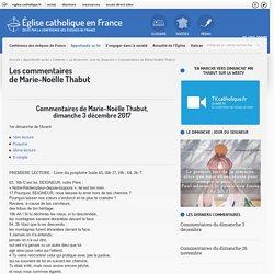 Commentaires de Marie-Noëlle Thabut - Eglise catholique